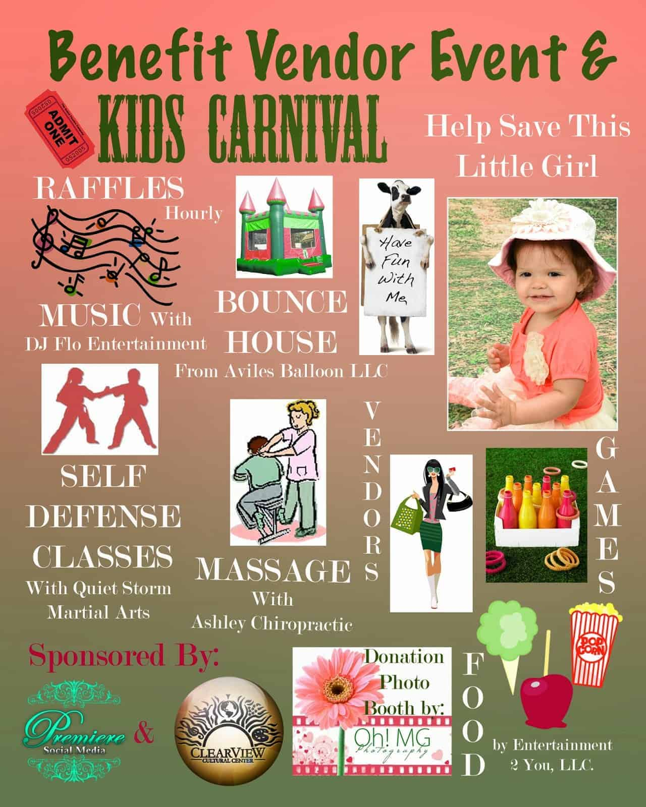 Benefit Business Vendor Event and Kids Carnival- Sponsored by Clearview Cultural Center and Premiere Social Media